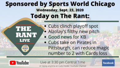Photo of The Rant Live (9/23/20): Cubs Clinch Playoff Spot, Alzolay's Filthy New Slider, Good News on KB, Cubs Take on Pirates in Pittsburgh