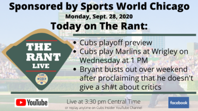 Photo of The Rant Live: Cubs Playoff Preview, Kris Bryant's Drip, Billy Hamilton Could Make a Difference, Cubs Bullpen is Good